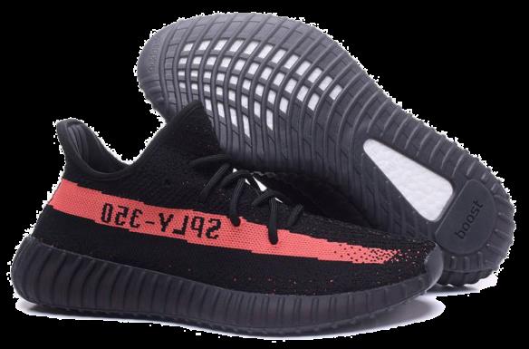 Фото Adidas Yeezy Boost 350 V2 Черные с красным - 1
